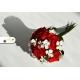 Romantická svadobná kytica - červenobielá