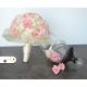 Svadobná kytica zo stabilizovaných kvetov ružova, smotanová