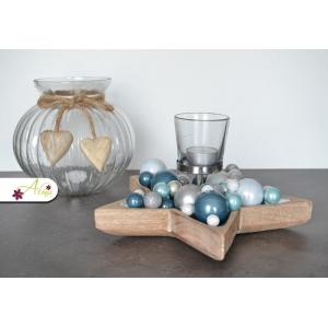 Vianočný svietnik na čajovú sviečku - modrý