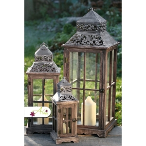 Romantický drevený lampáš - stredný