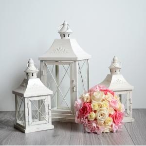 Romantický lampáš bielý